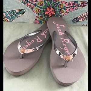 Jack Rogers Silver Flip Flops